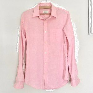 Club Monaco light pink button down long sleeve top